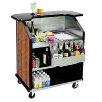 Lakeside 884VC 43 inch Stainless Steel Portable Bar with Victorian Cherry Laminate Finish, Removable 7-Bottle Speed Rail, and 40 lb. Ice Bin