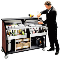 Lakeside 889RM 63 1/2 inch Stainless Steel Portable Bar with Red Maple Laminate Finish, 2 Removable 7-Bottle Speed Rails, and 70 lb. Ice Bin