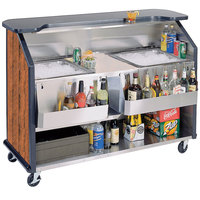 Lakeside 886VC 63 1/2 inch Stainless Steel Portable Bar with Victorian Cherry Laminate Finish, 2 Removable 7-Bottle Speed Rails, and 2 40 lb. Ice Bins