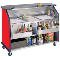 Lakeside 886RD 63 1/2 inch Stainless Steel Portable Bar with Red Laminate Finish, 2 Removable 7-Bottle Speed Rails, and 2 40 lb. Ice Bins