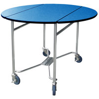 Lakeside 412 Mobile Round Top Room Service Table with Royal Blue Finish - 40 inch x 40 inch x 30 inch