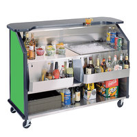 Lakeside 887G 63 1/2 inch Stainless Steel Portable Bar with Green Laminate Finish, 2 Removable 7-Bottle Speed Rails, and 40 lb. Ice Bin
