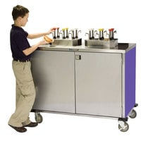 Lakeside 70270P Stainless Steel EZ Serve 12 Pump Condiment Cart with Purple Finish - 27 1/2 inch x 50 1/4 inch x 47 inch