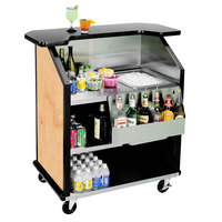 Lakeside 884HRM 43 inch Stainless Steel Portable Bar with Hard Rock Maple Laminate Finish, Removable 7-Bottle Speed Rail, and 40 lb. Ice Bin