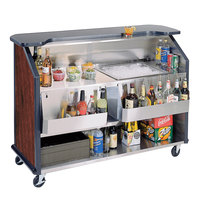 Lakeside 887RM 63 1/2 inch Stainless Steel Portable Bar with Red Maple Laminate Finish, 2 Removable 7-Bottle Speed Rails, and 40 lb. Ice Bin