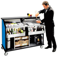 Lakeside 889 63 1/2 inch Stainless Steel Portable Bar with Royal Blue Laminate Finish, 2 Removable 7-Bottle Speed Rails, and 70 lb. Ice Bin