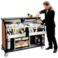 Lakeside 889VC 63 1/2 inch Stainless Steel Portable Bar with Victorian Cherry Laminate Finish, 2 Removable 7-Bottle Speed Rails, and 70 lb. Ice Bin