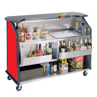 Lakeside 887RD 63 1/2 inch Stainless Steel Portable Bar with Red Laminate Finish, 2 Removable 7-Bottle Speed Rails, and 40 lb. Ice Bin