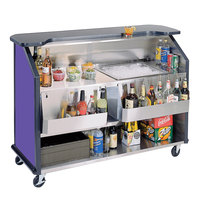 Lakeside 887P 63 1/2 inch Stainless Steel Portable Bar with Purple Laminate Finish, 2 Removable 7-Bottle Speed Rails, and 40 lb. Ice Bin