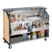 Lakeside 887HRM 63 1/2 inch Stainless Steel Portable Bar with Hard Rock Maple Laminate Finish, 2 Removable 7-Bottle Speed Rails, and 40 lb. Ice Bin
