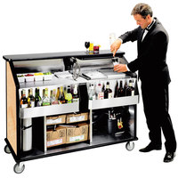 Lakeside 889HRM 63 1/2 inch Stainless Steel Portable Bar with Hard Rock Maple Laminate Finish, 2 Removable 7-Bottle Speed Rails, and 70 lb. Ice Bin