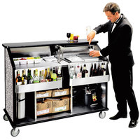 Lakeside 889GS 63 1/2 inch Stainless Steel Portable Bar with Gray Sand Laminate Finish, 2 Removable 7-Bottle Speed Rails, and 70 lb. Ice Bin
