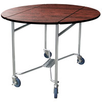 Lakeside 412 Mobile Round Top Room Service Table with Red Maple Finish - 40 inch x 40 inch x 30 inch