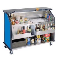 Lakeside 887BL 63 1/2 inch Stainless Steel Portable Bar with Royal Blue Laminate Finish, 2 Removable 7-Bottle Speed Rails, and 40 lb. Ice Bin