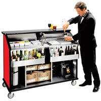 Lakeside 889 63 1/2 inch Stainless Steel Portable Bar with Red Laminate Finish, 2 Removable 7-Bottle Speed Rails, and 70 lb. Ice Bin