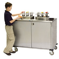 Lakeside 70210BS Stainless Steel EZ Serve 6 Pump Condiment Cart with Beige Suede Finish - 27 1/2 inch x 50 1/4 inch x 47 inch
