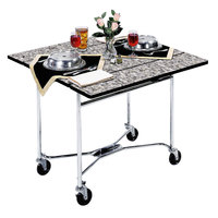 Lakeside 413 Mobile Square Top Room Service Table with Gray Sand Finish - 36 inch x 36 inch x 30 inch