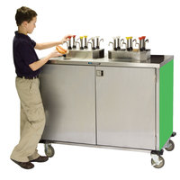 Lakeside 70220G Stainless Steel EZ Serve 4 Pump Condiment Cart with Green Finish - 27 1/2 inch x 33 inch x 47 inch