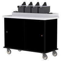 Lakeside 70510 Black Condi-Express 4 Pump Condiment Cart with (2) Cup Dispensers
