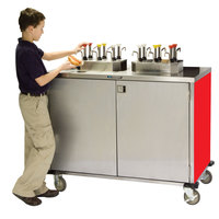 Lakeside 70220RD Stainless Steel EZ Serve 4 Pump Condiment Cart with Red Finish - 27 1/2 inch x 33 inch x 47 inch