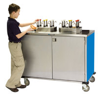 Lakeside 70220BL Stainless Steel EZ Serve 4 Pump Condiment Cart with Royal Blue Finish - 27 1/2 inch x 33 inch x 47 inch