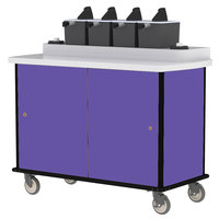 Lakeside 70410 Purple Condi-Express 4 Pump Condiment Cart with (2) Cup Dispensers