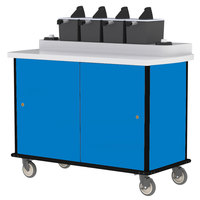 Lakeside 70410BL Royal Blue Condi-Express 4 Pump Condiment Cart with (2) Cup Dispensers