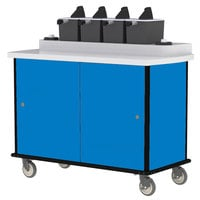 Lakeside 70410 Royal Blue Condi-Express 4 Pump Condiment Cart with (2) Cup Dispensers