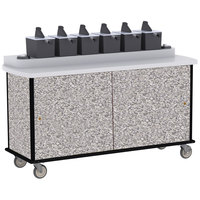 Lakeside 70430 Gray Sand Condi-Express 6 Pump Condiment Cart with (2) Cup Dispensers