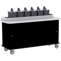 Lakeside 70430 Black Condi-Express 6 Pump Condiment Cart with (2) Cup Dispensers