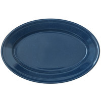 Carlisle 4356335 Dallas Ware 9 1/4 inch x 6 1/4 inch Cafe Blue Oval Platter - 24/Case