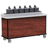 Lakeside 70530 Red Maple Condi-Express 6 Pump Condiment Cart with (2) Cup Dispensers