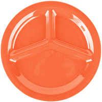 Carlisle 3300052 Sierrus 10 1/2 inch Sunset Orange 3 Compartment Narrow Rim Melamine Plate - 12/Case