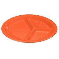 Carlisle 3300052 Sierrus 10 1/2 inch Sunset Orange 3 Compartment Narrow Rim Melamine Plate - 12/Case