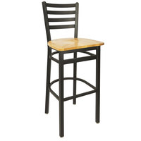 BFM Seating 2160BNTW-SB Lima Metal Ladder Back Barstool with Natural Wooden Seat