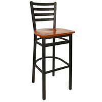 BFM Seating 2160BCHW-SB Lima Metal Ladder Back Barstool with Cherry Wooden Seat
