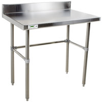 "Regency 24"" x 36"" 16-Gauge 304 Stainless Steel Commercial Open Base Work Table with 4"" Backsplash"