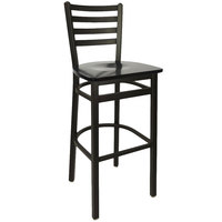 BFM Seating 2160BBLW-SB Lima Metal Ladder Back Barstool with Black Wooden Seat