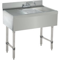 Advance Tabco CRB-31C Lite One Compartment Stainless Steel Bar Sink with Two 12 inch Drainboards - 36 inch x 21 inch