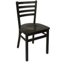 BFM Seating 2160CBLW-SB Lima Metal Ladder Back Side Chair with Black Wooden Seat