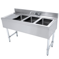 Advance Tabco CRB-43R Lite Three Compartment Stainless Steel Bar Sink with 9 inch Drainboard - 48 inch x 21 inch (Right Side Sink)