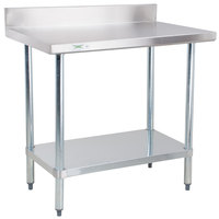 Regency 30 inch x 36 inch 18-Gauge 304 Stainless Steel Commercial Work Table with 4 inch Backsplash and Galvanized Undershelf