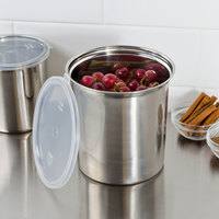 ... 2.7 QT Stainless Steel Food Storage Container With Snap On Plastic Lid