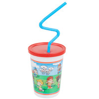 Plastic Kids Cup with Reusable Lid and Curly Straw - 250/Case