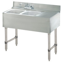 Advance Tabco CRB-32L Lite Two Compartment Stainless Steel Bar Sink with 9 inch Drainboard - 36 inch x 21 inch (Left Side Sink)