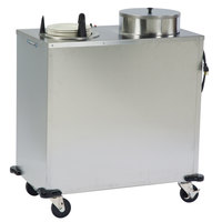Lakeside E6207 Enclosed Stainless Steel Heated Two Stack Plate Dispenser for 6 5/8 inch to 7 1/4 inch Plates