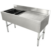 Advance Tabco CRW-4L-7 Stainless Steel Ice Bin and Drainboard Combo Unit with 7-Circuit Cold Plate - 48 inch x 21 inch (Left Side Ice Bin)