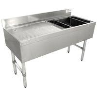 Advance Tabco CRW-4R Stainless Steel Ice Bin and Drainboard Combo Unit - 48 inch x 21 inch (Right Side Ice Bin)