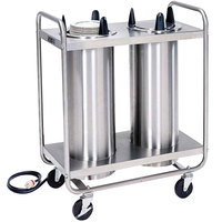 Lakeside 777 Open Base Stainless Steel Adjust-a-Fit Heated Two Stack Plate Dispenser for 6 1/2 inch to 9 3/4 inch Plates
