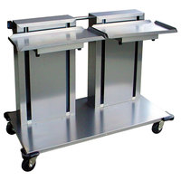 Lakeside 2816 Stainless Steel Double Platform Mobile Cantilever Tray Dispenser for 10 inch x 20 inch Trays